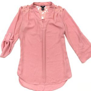 Rue21 Pink Roll Tab Tunic Blouse Lace Shoulders